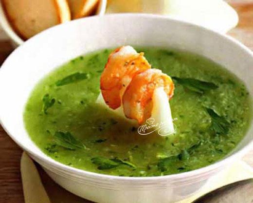 Дынный суп с креветками