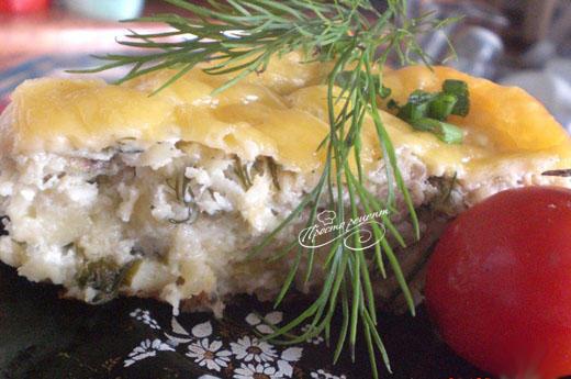 Рыбная запеканка с творогом и сыром
