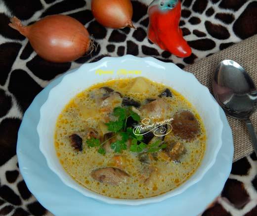 Суп с шампиньонами, курицей и баклажанами
