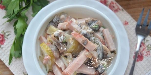 Салат с ветчиной и грибами рецепт с