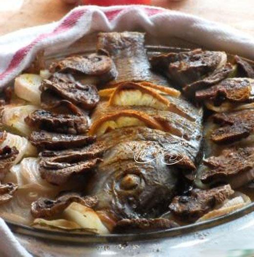 Рыба запеченная с грибами