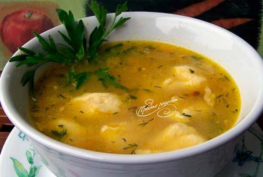 Суп с галушками и куриными крылышками