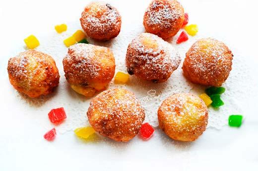 Творожные пончики с цукатами