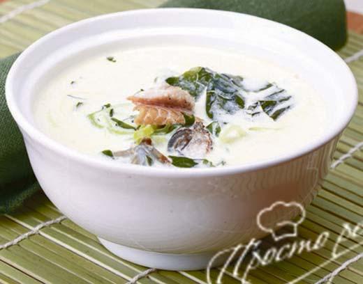 Сливочный суп с угрем