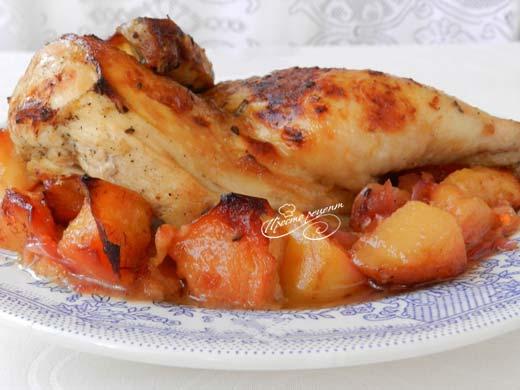 Курица с айвой в духовке