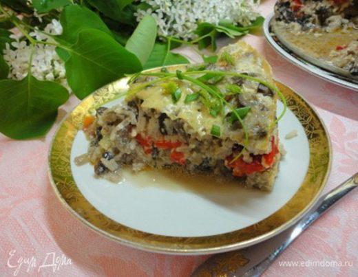 Рисовая запеканка с перцем и грибами