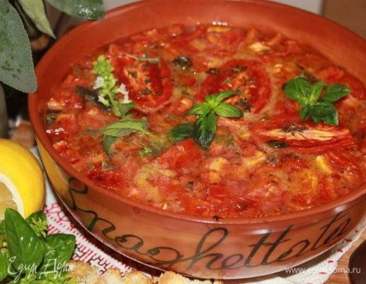 Томатный суп из печи с базиликом