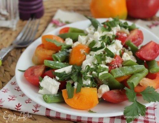 Салат с зеленой фасолью с фетой