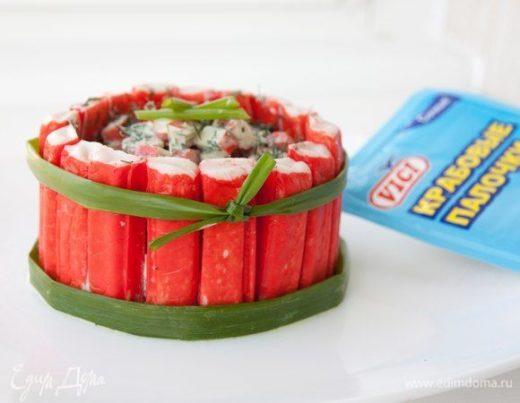 Салат с крабовыми палочками и йогуртовой заправкой