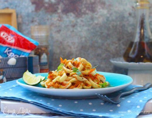 Теплая закуска с овощами и морепродуктами