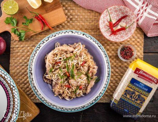 Пикантный рис с курицей и беконом