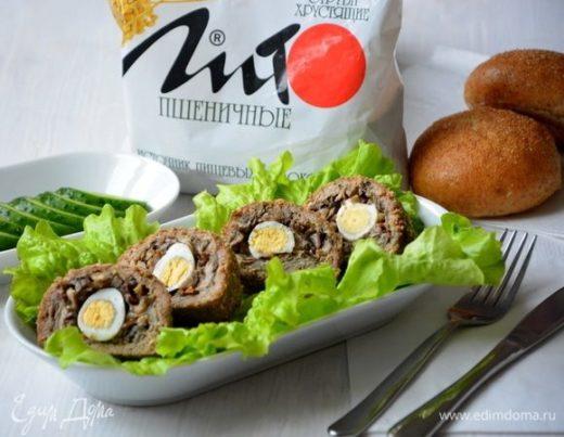 Мясные шарики с яйцом и отрубями