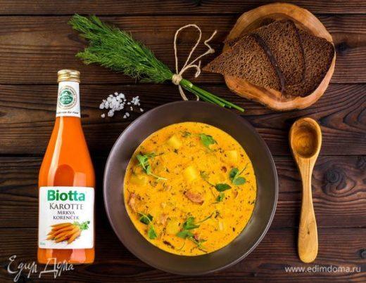 Овощной суп с копченостями