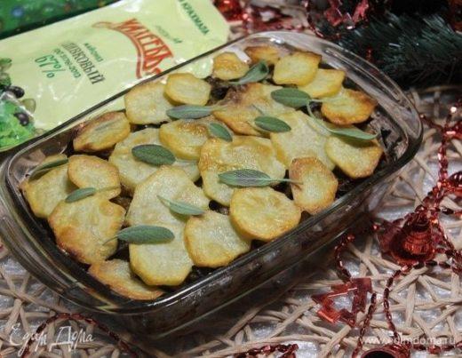 Запеканка с картофелем, курицей и грибами
