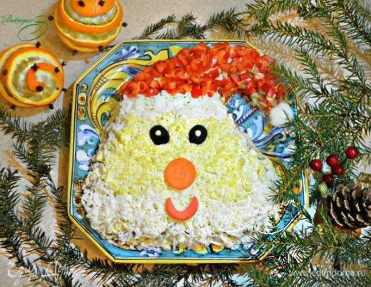 Салат с курицей и грибами «Дед Мороз»