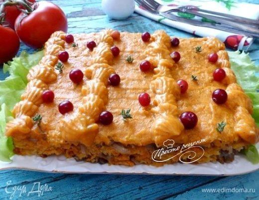 Закусочный торт с солеными груздями и тыквенным кремом