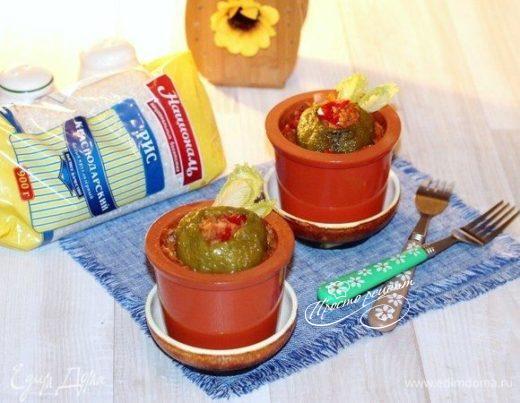 Перец с ветчиной, рисом и овощами