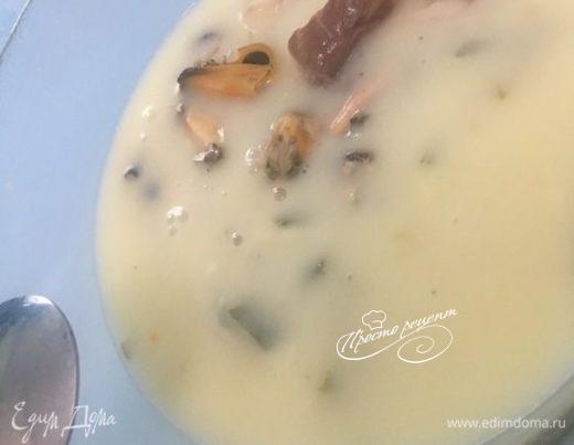 Суп с мидиями и белорыбицей