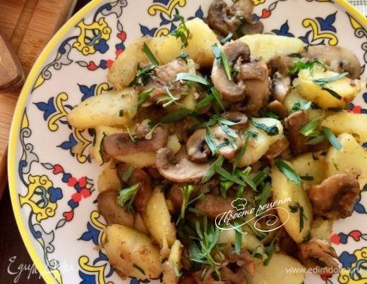 Теплый салат с картофелем и шампиньонами