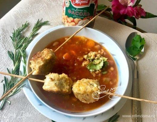Тосканский овощной суп с рыбными фрикадельками