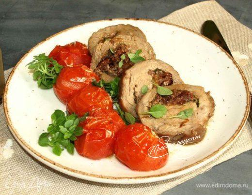 Рулет из телятины с вялеными томатами и моцареллой