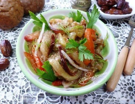 Салат из запеченных овощей с финиками