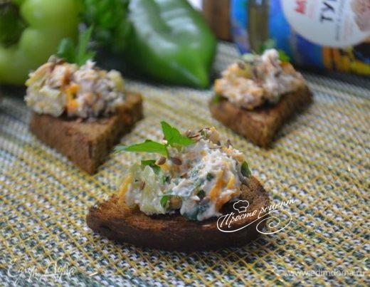 Кростини с тунцом и творожным сыром