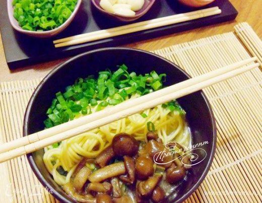 Суп с опятами в азиатском стиле