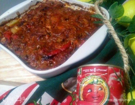 Бедрышки по-средиземноморски с овощами и томатным песто с чесноком