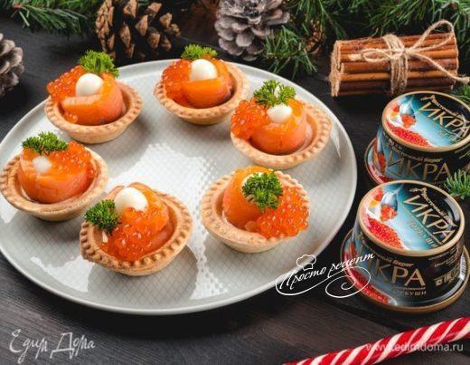 Тарталетки с перепелиными яйцами и красной икрой