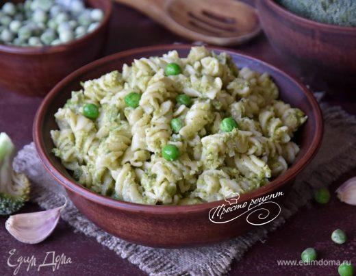 Фузилли с соусом из зеленых овощей