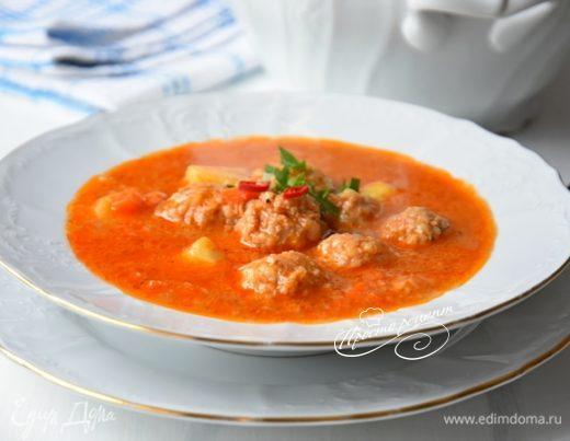 Турецкий томатный суп с фрикадельками
