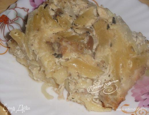 Запеканка из отварной курицы и макарон