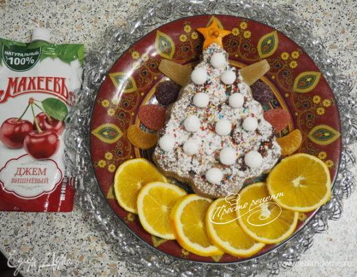Кекс «Новогодний» с шоколадом и вишневым джемом