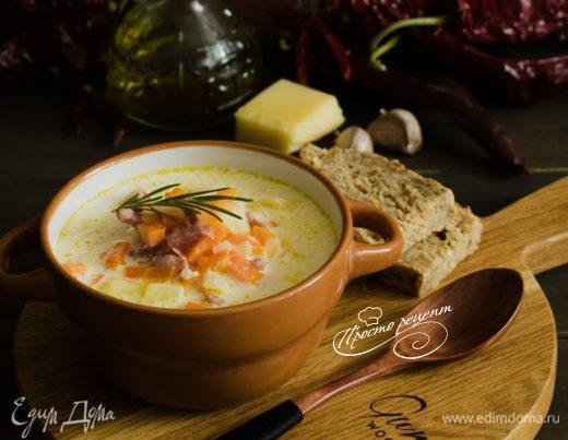 Сливочно-сырный суп с ветчиной