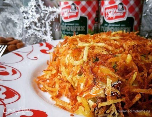 Слоеный салат с картофелем пай «Праздничный кафтан»