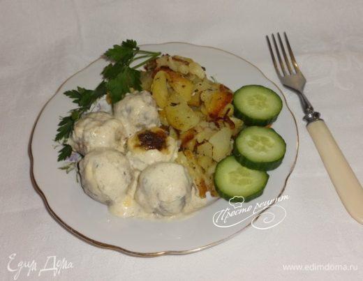 Запеченные фрикадельки с картофелем