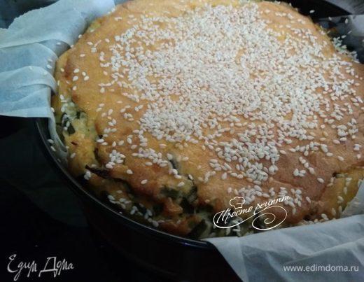 Заливной пирог с капустой и папоротником