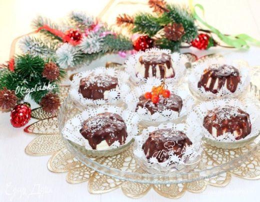 Пирожные с черничным и шоколадным муссом