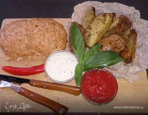 Котлеты из кижуча с деревенским картофелем