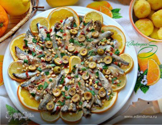 Анчоусы с лимонами и апельсинами по-катански