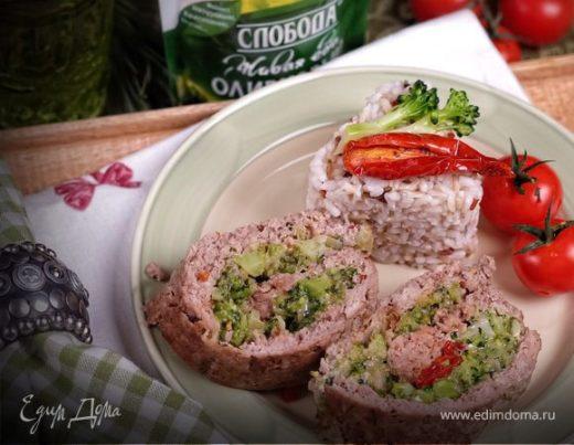 Мясной рулет с брокколи, сыром и вялеными томатами