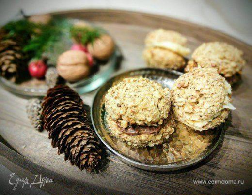 Кофейное печенье с грецким орехом и нутеллой
