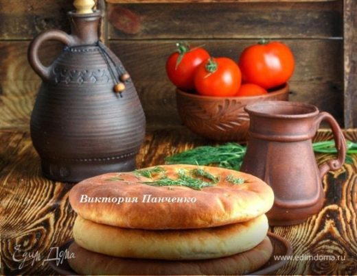 Лепешки с сыром, чесноком  и зеленью