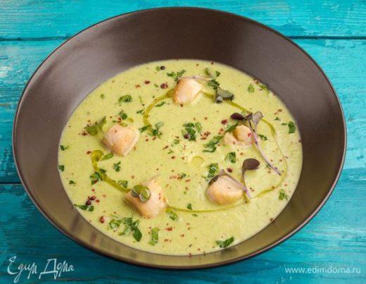 Крем-суп из брокколи с морскими гребешками