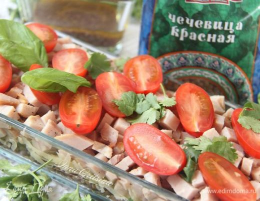 Салат с бужениной и чечевицей