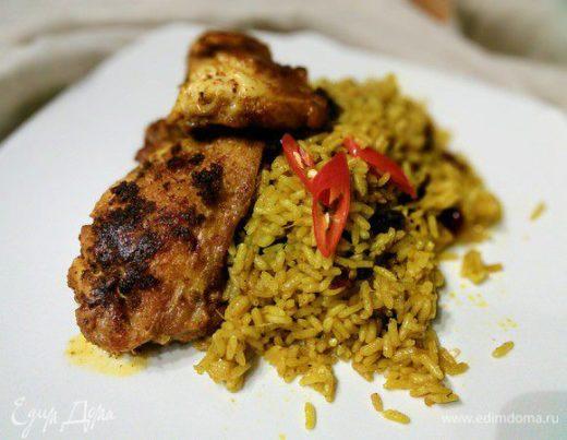Шафрановая курочка с  рисом-карри