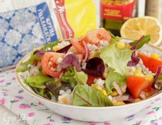 Салат с перловкой и кукурузой
