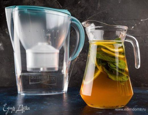 Холодный летний чай с мятой и лимоном