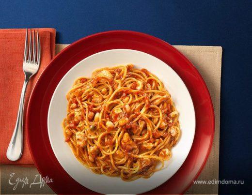 Спагетти с печенью трески